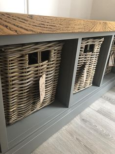 Painted Shoe Rack Storage Bench with 5 Baskets *Entrance Porch Reception Hallway Grey Blue *choose colour* BASKETS INCLUDED - nuxpoz. Bench With Shoe Storage, Storage Baskets, Utility Room Storage, Raw Furniture, Painted Coffee Tables, Farrow And Ball Paint, Rattan Basket, Painted Shoes, Shoe Rack