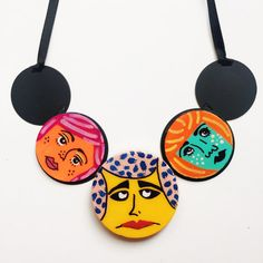 Bright and Colorful Wearable Art Necklace by Jennifer Perkins