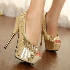 Free shipping new arrival sexy beautiful 2013 gold paillette open toe banquet ladies high-heeled shoes 935 black gold(China (Mainland))