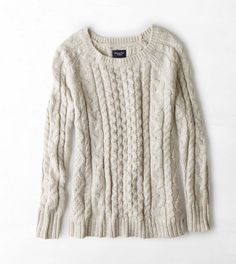 Cream or pale pink in medium AEO Cable Knit Sweater