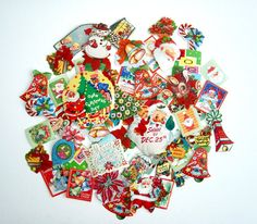 Lot of 60 Vintage Christmas Holiday Gummed Sticker Seals - Retro 1950's, 60's & 70's Gift Package Tags. $8.50, via Etsy.
