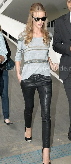 Rosie Huntington-Whiteley rocked her Elizabeth and James Diedrick Leather Pants