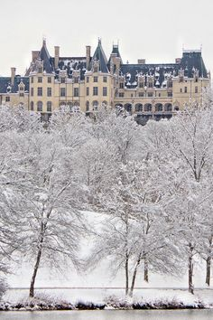 Biltmore House in the snow - from the Lagoon on the estate. In Asheville NC.