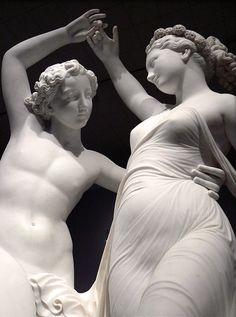 """Zephyr Dancing with Flora"" 1870,Detail,Marble sculpture by Giovanni Maria Benzoni."