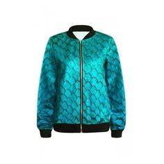 Turquoise Sexy Womens Mermaid Scale Printed Long Sleeve Jacket ($34) ❤ liked on Polyvore featuring outerwear, jackets, turquoise jacket, blue jackets, long sleeve jacket e sexy jackets