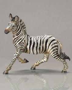 """Ansel"" Zebra Figurine by Jay Strongwater at Neiman Marcus. Metalarte, Jay Strongwater, Indian Dolls, Black And White Interior, Grey Home Decor, Animal Sculptures, Wildlife Art, Wire Art, Pet Birds"