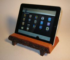 Wooden iPad stand.