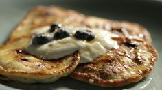 Blueberry and Ricotta cheese pancakes. With Greek Yogurt and honey