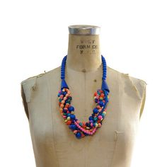Gobstopper vintage 80's painted wood beads necklace, $24