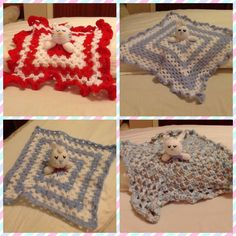 Different animal comfort blankets. Hand Made By Craftypaulaa.