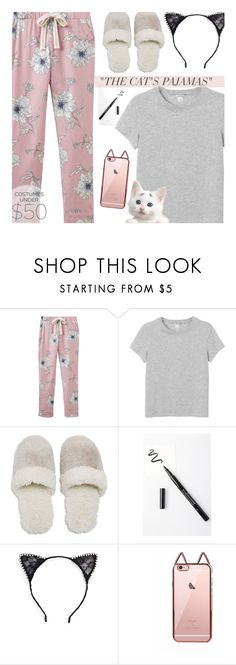 """""""the cat's pajamas"""" by claireelizabetth ❤ liked on Polyvore featuring Joules, Monki, Natori, BHCosmetics and Tasha"""