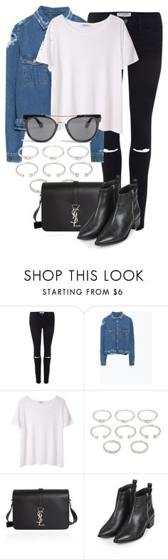 """""""Untitled #2110"""" by annielizjung ❤ liked on Polyvore featuring Frame, Zara, T By Alexander Wang, Forever 21, Yves Saint Laurent, Topshop and Quay"""