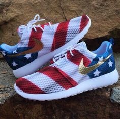 Red White and Blue Nike shoes