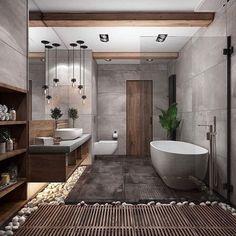Modern Bathrooms Interior, Contemporary Bathroom Designs, Bathroom Design Luxury, Bathroom Modern, Contemporary Shelves, Bath Design, Natural Modern Interior, Contemporary Design, Modern Design