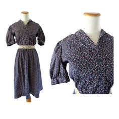 Prairie Dress Floral 70s Boho Hippie Dress with Pockets Cotton Calico Modest 1970s Midi A-line Size Small by GoodLuxeVintage on Etsy
