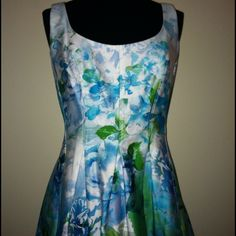 "Beautiful Scoop Neck A-Line Dress with Pockets! Dress like An American in Paris in this Uber Chic Scoop Neck A-Line Dress in a Beautiful ""Monet"" print of brilliant blues and greens! Stunning and practical with hidden pockets. Size 4 Nine West Dresses"