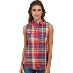 Woolrich Sunbury Sleeveless Madras Shirt Women's Sleeveless, Blue (£12) ❤ liked on Polyvore featuring tops, blue, plaid shirt, shirts & tops, button collar shirt, blue collared shirt and blue shirt