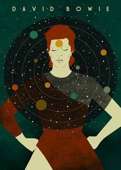 David Bowie 'Starman' 1970s Illustration Poster A3 by EmyLouHolmes