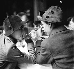Elise Daniels and Monique, hats by Schiaparelli,   Café     Flore, Paris, August 1948