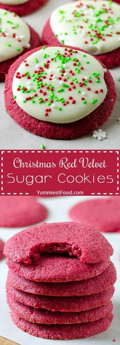 holiday baking CHRISTMAS RED VELVET SUGAR COOKIES Perfect and easy cookie recipe for Christmas or any festive time of year! The delicious flavor of red velvet, buttery soft and topped with best cream cheese frosting! Dessert Party, Appetizer Dessert, Holiday Cookies, Holiday Treats, Frosting For Christmas Cookies, Easy Christmas Cookies, Christmas Brownies, Valentine Cookies, Christmas Cupcakes