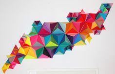 DIY 3D Geometric Paper Sculpture via MAKE. Figuras geométricas. Decoración de la casa hazlo tú misma!!