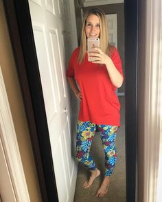 "Ultimate ""work from home"" outfit - awesome pairing by my coworker @lindybarry today!! #simplycomfortable #lularoe #lularoemgwells #workingfromhome #ootd #lularoeootd #irmatunic #lularoeleggings #patternedleggings"
