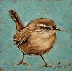 Wren painting 5x5 inch original oil painting of a by Andrea Lavery www.etsy.com/shop/LaveryART