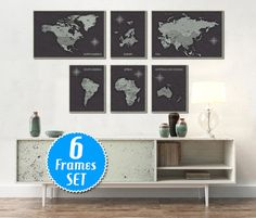 WORLD MAP SET of 6 frames World Map Wall Art Wall by ArchTravel