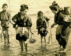 GONE FISHIN' -- Just Another day in Old Japan  Photo by Julian Cochrane. 1904. From a Stereoview.
