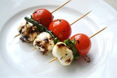 Caprese Salad Skewers with Balsamic Glaze--use the small mozzarella already in oil from Costco...easy!