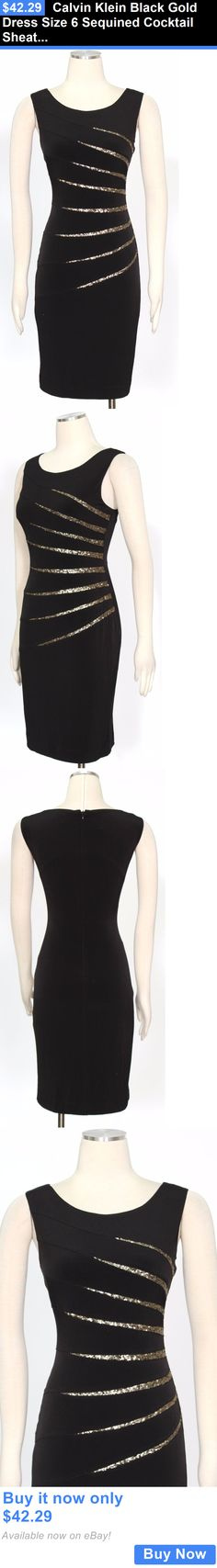 clothing and accessories: Calvin Klein Black Gold Dress Size 6 Sequined Cocktail Sheath Womens New* BUY IT NOW ONLY: $42.29