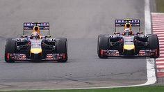 Sebastian Vettel (left) and Daniel Riccardio during the grand prix in Shanghai.