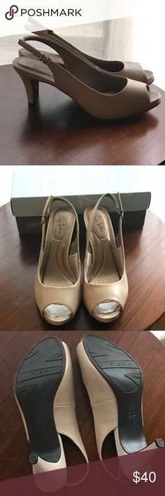 """Life Stride taupe/tan, sling back, peep toe heels Life Stride """"Soft System"""" taupe/tan, sling back, peep toe 3"""" heels. Size 11 WIDE. (Runs a little short--I'm usually a 10-10.5.) EUC; New--only worn once (on carpeting) to a conference in a hotel.  Very comfortable, just too high a heel for me. Stored in box with tissue paper (which will ship with the shoes). Life Stride Shoes Heels"""