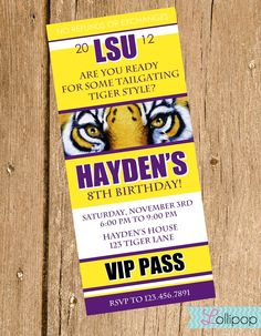 LSU Tailgating Birthday Party Invitations, Ticket Style Printable Lsu ...