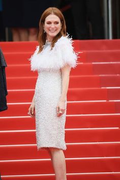 Cannes Film Festival 2017 | Julianne Moore wore a feathered Chanel frock.