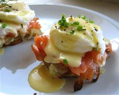 Smoked salmon eggs benedict. yum...