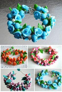 Charm Bracelet handmade Jewelry Blue bracelet polymer clay flower bracelet gift idea for her