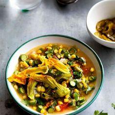 Pumpkin Flower and Poblano Chili Soup | KiwiLimon | (not vegetarian but adaptable to vegetarian)
