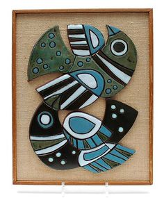 Tile-tablet shaped like two abtract birds mounted on a wooden panel design execution by Henk Potters in own studio Oisterwijk / the Netherlands Mosaic Birds, Mosaic Art, Vintage Ceramic, Vintage Art, Wooden Panel Design, Scandi Art, I Like Birds, Art Necklaces, Mosaic Projects