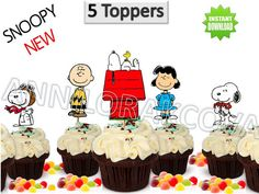 50%OFF SNOOPY Printable NEW Toppers Cupcake Topper by ANNILORACK