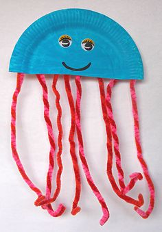Paper plate jellyfish! Could use pipe cleaners, ribbons, beads, etc., for the tentacles! Inspiration. :) <3
