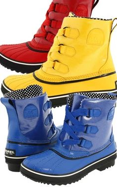 Sorel Tivoli Rain...primary colour fun!