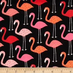 Urban Zoologie Flamingos Black from @fabricdotcom  Designed by Anne Kelle for Kaufman Fabrics, this cotton print is perfect for quilting and craft projects as well as apparel and home décor accents. Colors include black, white, grey and shades of pink and coral.