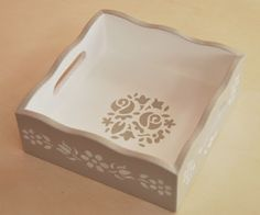 Art N Craft, Diy Art, Wooden Art, Wooden Boxes, Wood Crafts, Diy And Crafts, Decoupage Wood, Painted Trays, Tea Box
