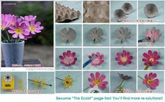 Flowers,by reusing egg carton Egg Crate Flowers, Flowers In Jars, Diy Flowers, Paper Flowers, Diy Home Crafts, Holiday Crafts, Easy Crafts, Crafts For Kids, Handmade Decorations