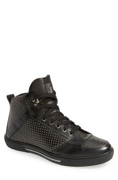 Perforated high top sneakers for fall | Versace Collection.