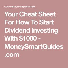 Are you looking to start investing? A great strategy is to dividend investing. This post walks you through how to start dividend investing with little money Investment Tips, Investment Property, Dividend Investing, You Cheated, Cheat Sheets, Extra Money, Cheating, Frugal, Budgeting