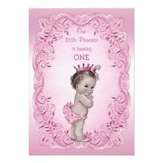 Pink Vintage Princess 1st Birthday Party Invitations