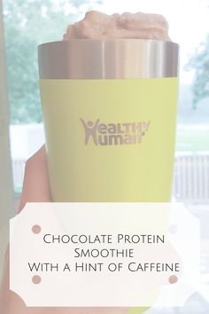 Chocolate Protein Smoothie With a Hint of Caffeine -http://www.leggingsandlattes.com/chocolate-protein-smoothie/