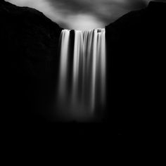 Black  white waterfall photography by Massimo Margagnoni
